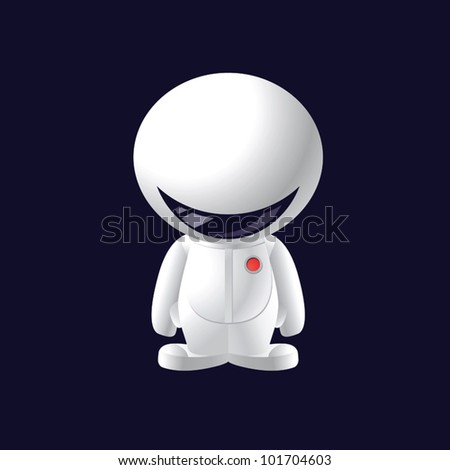 little smile astronaut, cartoon vector illustration, character design - stock vector