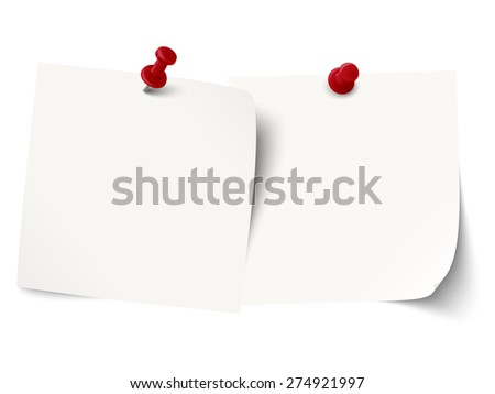 little sticky papers in a row with colored pin needles and free copy space - stock vector