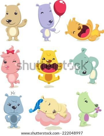 Little Stuffed Fluffy Playful Child Brown Bedtime Teddy Bear Toy, vector illustration cartoon. - stock vector
