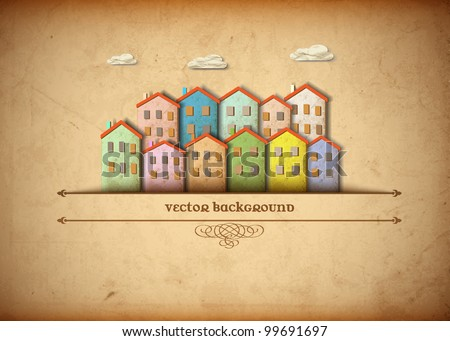 Little town made from old paper. Creative vector eps 10 - stock vector