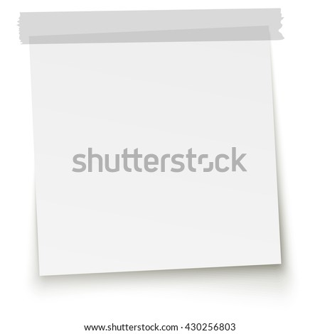 little white paper with gray adhesive tape and shadow - stock vector