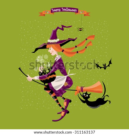 Little witch on a broom with a cauldron and a cat. Happy halloween. Vector illustration - stock vector