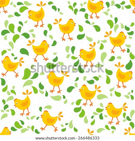 little yellow chickens with green leaves messy Easter spring holidays seamless pattern isolated on white background - stock vector