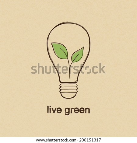 Live green concept with eco light bulb in doodle style over carton paper background - stock vector