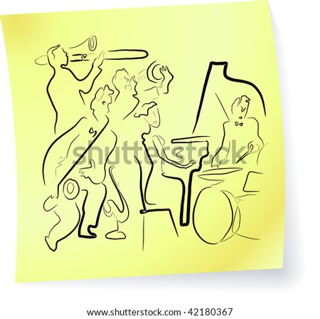 Live Jazz & Blues on a post-it note - stock vector