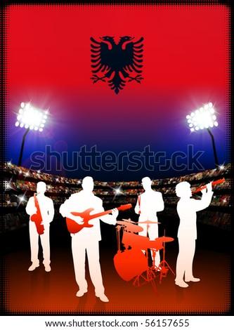 Live Music Band with Albania Flag on Stadium Background Original Illustration - stock vector