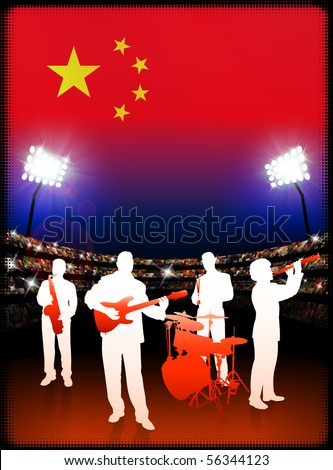 Live Music Band with China Flag on Stadium Background Original Illustration - stock vector