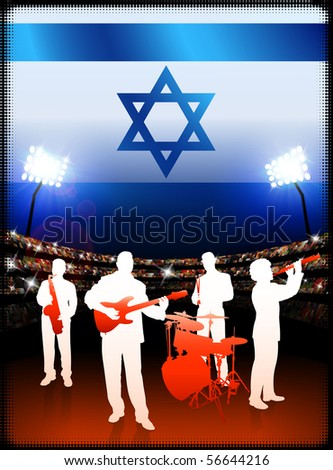 Live Music Band with Israel Flag on Stadium Background Original Illustration - stock vector