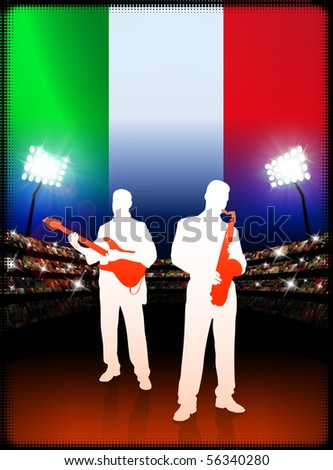 Live Music Band with Italy Flag on Stadium Background Original Illustration - stock vector