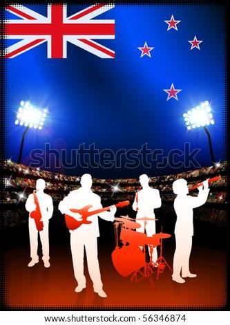 Live Music Band with New Zealand Flag on Stadium Background Original Illustration - stock vector