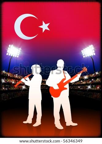 Live Music Band with Turkey Flag on Stadium Background Original Illustration - stock vector