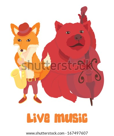 Live music. Fox and bear musicians - stock vector