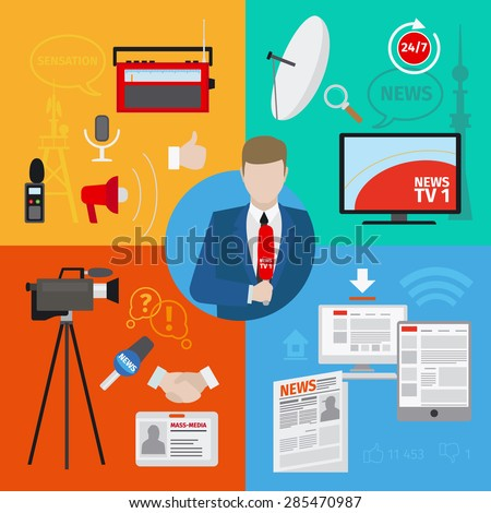 Live report or live news journalism vector concept - stock vector