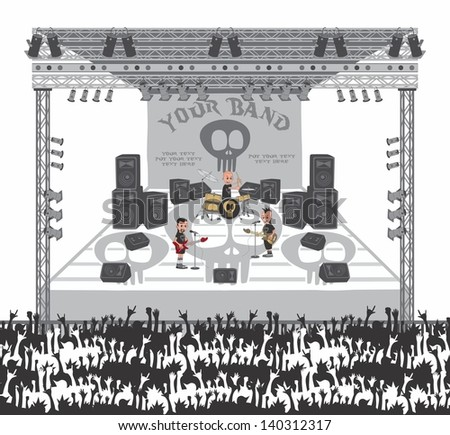 live show stage band - stock vector