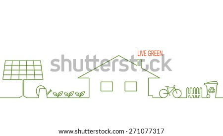 Living green and eco friendly house concept with alternative solar energy, organic gardening, waste recycling and bicycle - stock vector