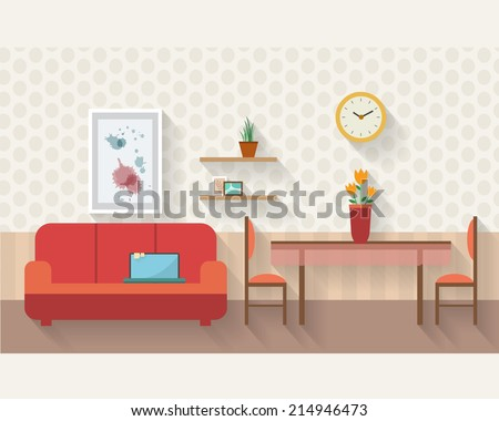 Living room and dining room with furniture and long shadows. Flat style vector illustration. - stock vector