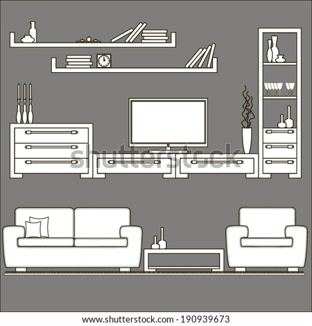 living room furniture icons - stock vector
