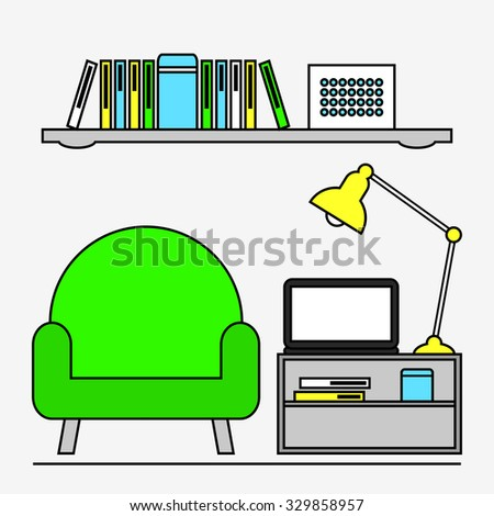 Living room. Home work office and study place. Workplace interior design. Modern furniture: armchair, coffee table and shelf. Laptop, lamp and books. Flat line style vector illustration. - stock vector
