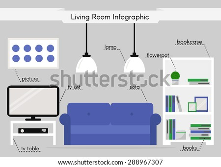 Living room infographic. Modern furniture isolated icons. Bookcase, sofa, tv table, tv set, lamps and decoration. White furniture on grey background. Flat style vector illustration.  - stock vector