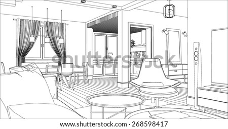 Living room interior drawing. Architectural design. - stock vector