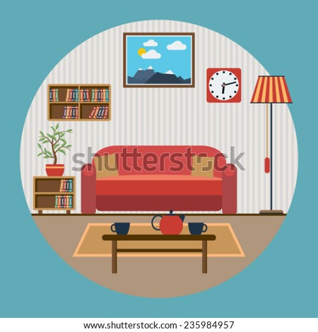 Living room interior flat vector illustration - stock vector
