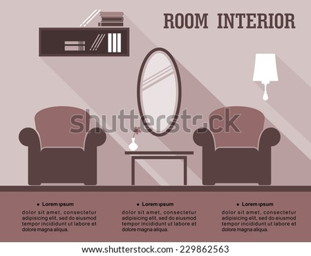 Living room interior infographic for interior decorating showing a living room with armchairs, mirror, bookcase and cabinet in shades of brown, vector illustration with copyspace - stock vector