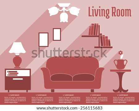 Living room interior infographic in flat style showing sofa, bedside tables, lamp, bookshelf, chandelier in red and white with caption Living Room and text layout for apartment design - stock vector