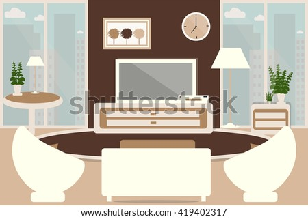 Living room interior vector illustration. The flat design. Bright living room with a TV and modern furnishings. Interior in bright colors stock vector - stock vector
