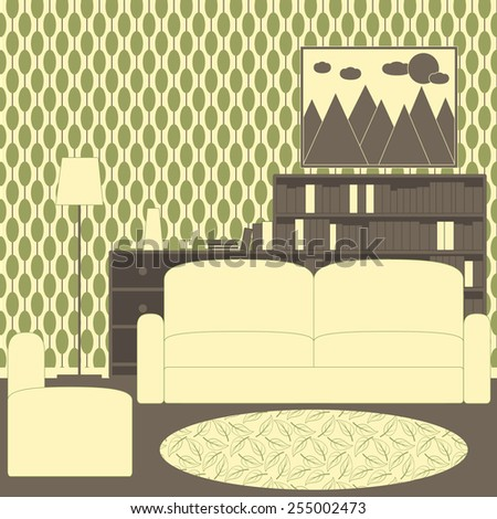 Living room interior with vintage wallpaper, sofa, armchair, patterned carpet, floor lamp, chest of drawers, vase, magazines, bookcase and framed painting with mountains, sun and clouds on the wall - stock vector