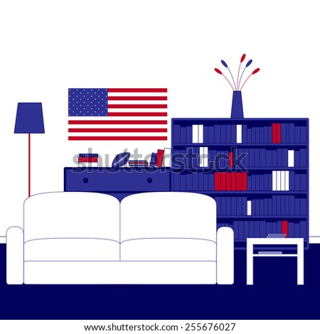 Living room interior with white walls, navy carpeting, sofa, floor lamp, coffee table, chest of drawers, shelving, books, magazines, newspapers, vase, flowers, ball and American flag on the wall - stock vector