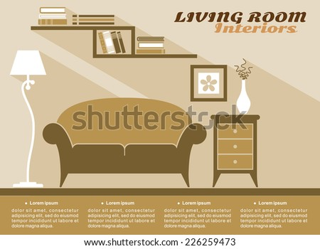 Living room interiors  in shades of brown with text copyspace and a sofa, cabinet, lamp and wall-mounted bookcase, flat vector illustration - stock vector