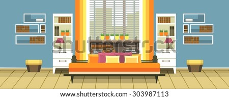 Living room intrer apartment with furniture in the flat style - stock vector