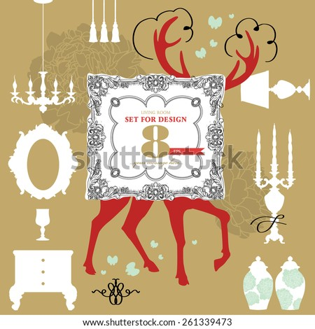 Living-room set for design. Collection of hand - drawn nursery related objects on background. - stock vector