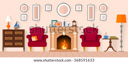 living room with furniture and a fireplace. Flat style vector illustration. - stock vector
