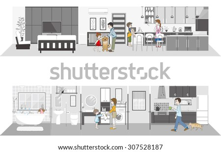 Living space / Family - stock vector