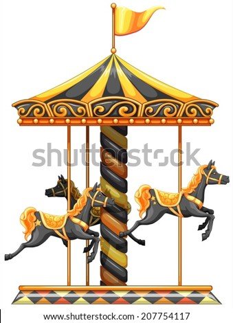 lllustration of a merry-go-round ride on a white background - stock vector