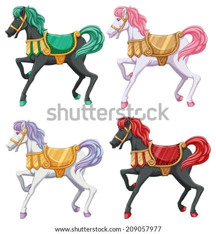 lllustration of the horse rides on a white background - stock vector
