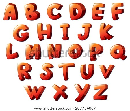 lllustration of the letters of the alphabet on a white background - stock vector