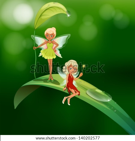 lllustration of the two playful fairies - stock vector