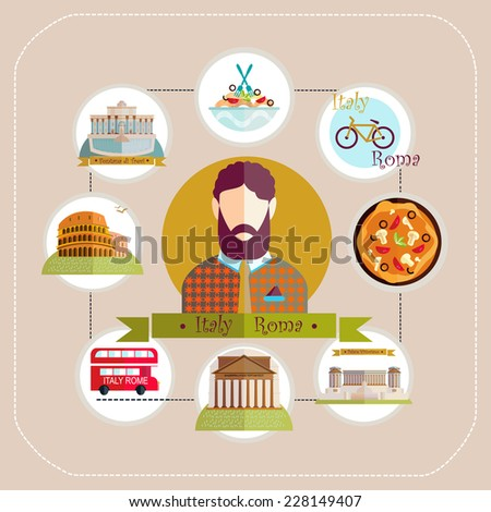 llustration. Italy Rome man travels to Rome. Colosseum, Fontana di Trevi, the Palace Vittoriano, Pantheon, pizza, spaghetti, bus, bicycle.  - stock vector