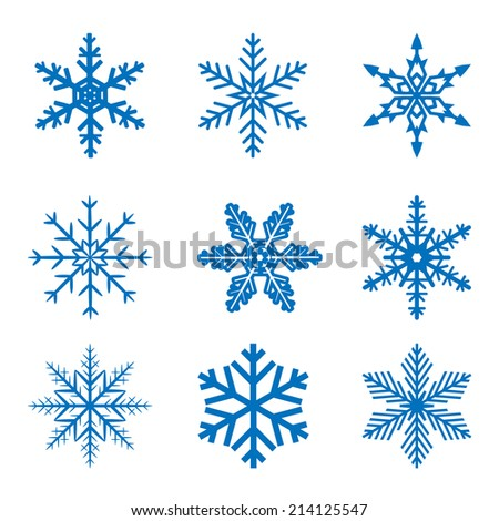 llustration set blue Snowflake isolated on white background. Vector. - stock vector