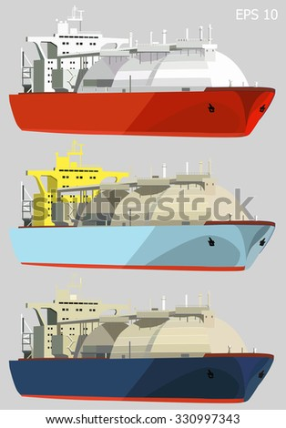 LNG tankers, gas carrier ships, isolated on grey, set of three, vector illustration - stock vector