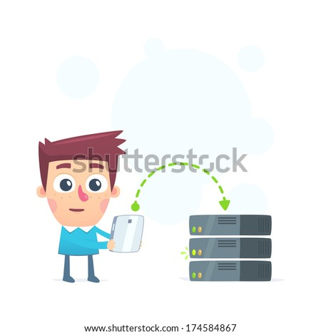 load information to the server - stock vector