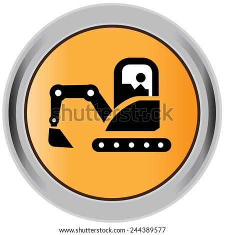 Loader, excavator, construction, machinery, equipment, icon - stock vector