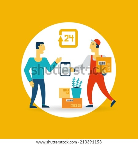 Loader talking with a man icon - stock vector