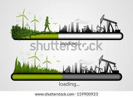 Loading bar with the loading of green. concept of ecology - stock vector