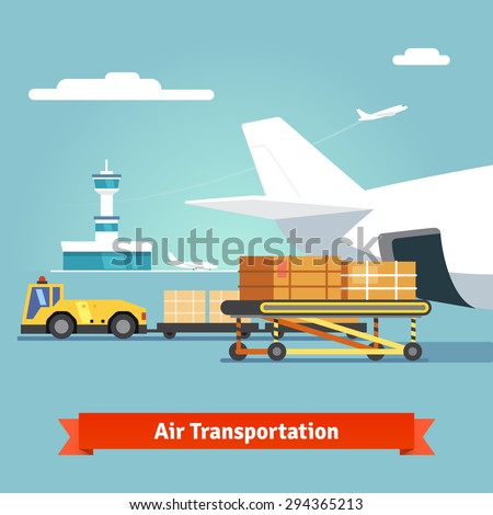 Loading boxes to a preparing to flight aircraft with platform of air freight. Air cargo transportation concept. Flat style illustration. - stock vector