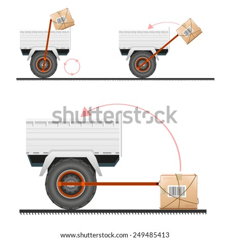 Loading cargo in the truck with the help of wheels - stock vector