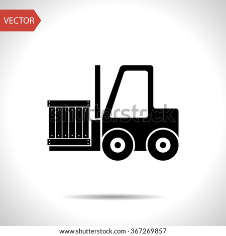 loading forklift vector icon - stock vector