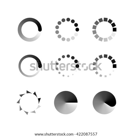 Loading icons. Collection of modern preloaded. Monochrome loading icons. Different loading icons.  Loading Icon Web - stock vector
